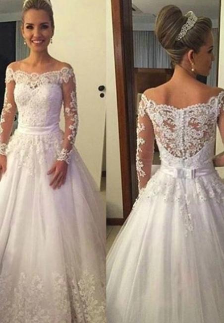 Lange Ärmel Brautkleider Weiß A Linie Tüll Hochzeitskleider Brautmoden Günstig