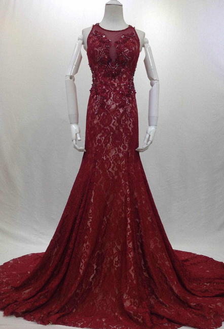 Designer Long Evening Dresses Wine Red Lace Mermaid Straps Evening Wear Prom Dresses Cheap