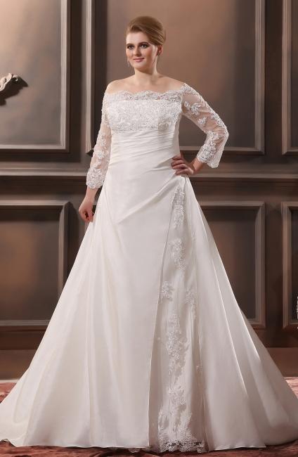 Weiß Brautkleider Große Größe Mit Ärmel Spitze Übergröße Hochzeitskleider