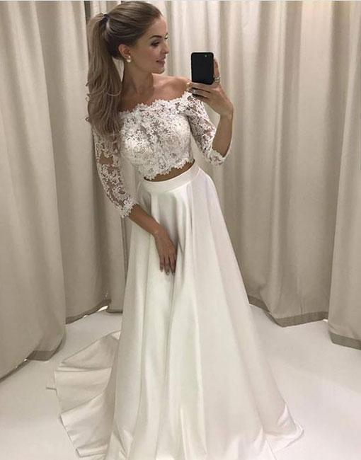 Cheap white evening dresses with sleeves a line lace evening wear online