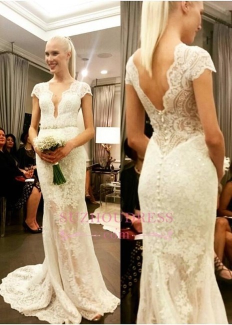 Fashion Brautkleider Weiß V Ausschnitt Meerjungfrau Rückenfrei Hochzeitskleider Brautmoden
