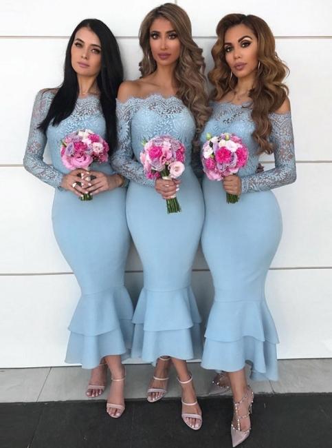 Blaue Brautjungfernkleider Langarm | Günstige Brautjungfernkleider Kurz