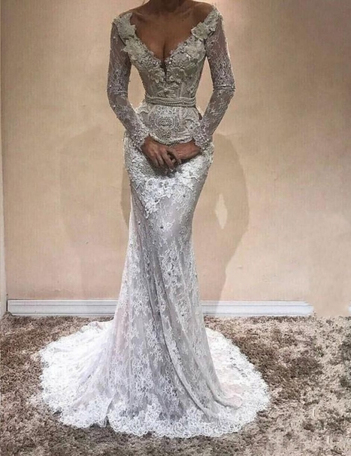 Modern White Lace Wedding Dresses With Sleeves Mermaid Bridal Gowns Cheap