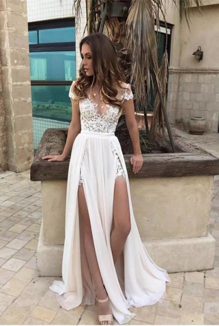 Weiße Abendkleider Mit Ärmel Kurz Chiffon Lange Abendmoden Abiballkleider