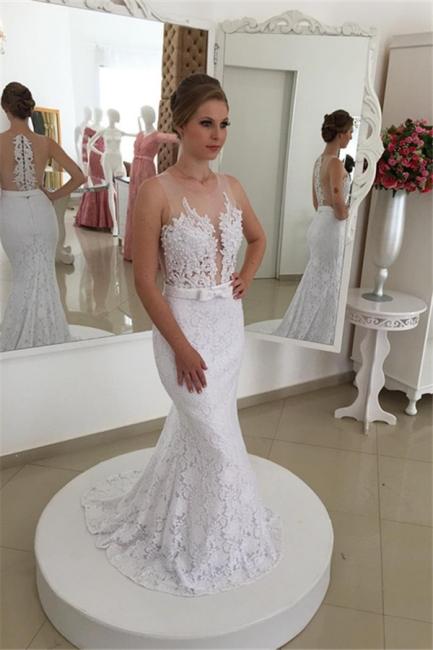Weiß Brautkleider Spitze Meerjungfrau Lange Hochzeitsmoden Brautmoden Online