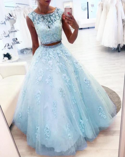Elegant evening dresses blue long cheap lace evening wear 2 pieces online