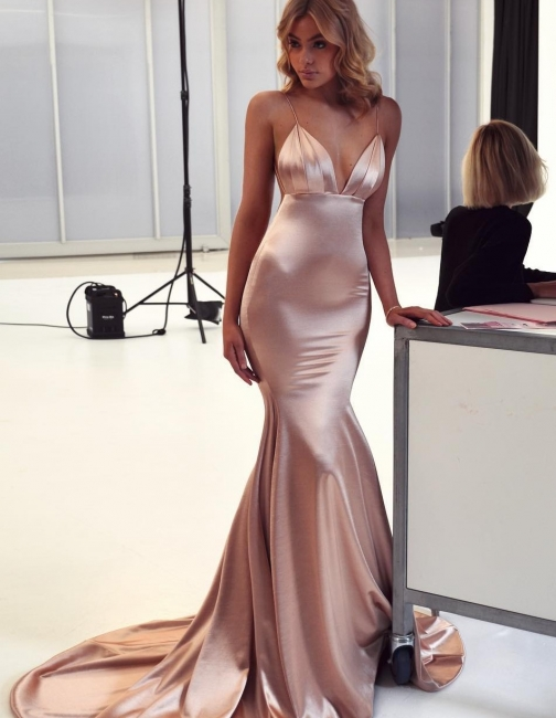 Simple Spaghetti Strap Cheap Long Prom Dresses Evening Gowns