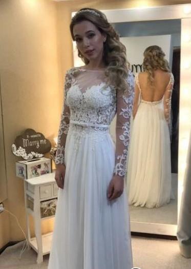 White Wedding Dresses Long Sleeves Chiffon Beach Sheath Dress Wedding Dresses Online