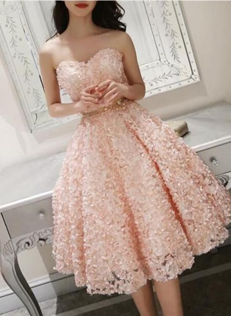 Fashion cocktail dresses short pink | Lace evening dresses mini online