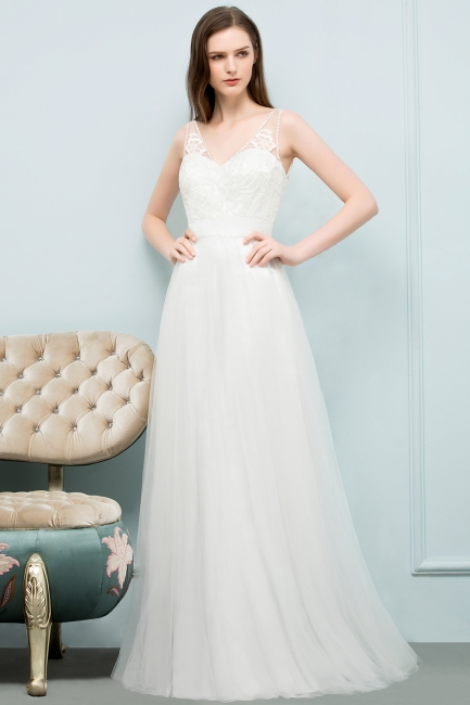 Simple a line wedding dresses white with straps floor length wedding gowns cheap online