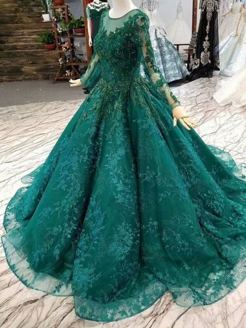 Luxury evening dresses with sleeves | Green evening fashions online