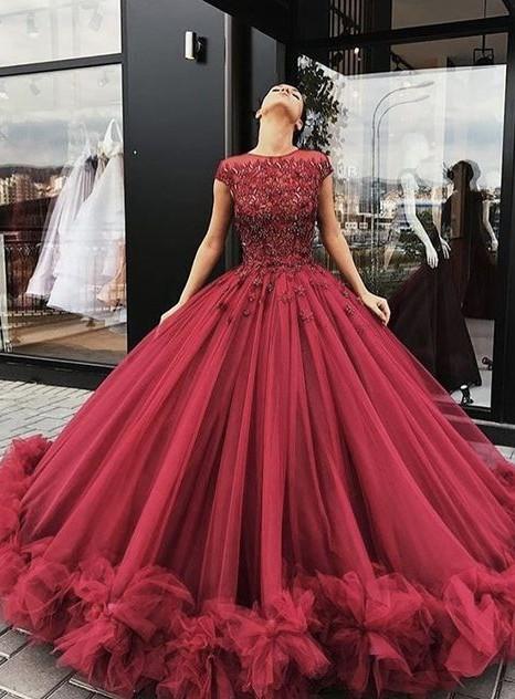 Luxury Weinrot Abendkleider Lang Günstig Mit Spitze A Linie Abendmoden Abiballkleider