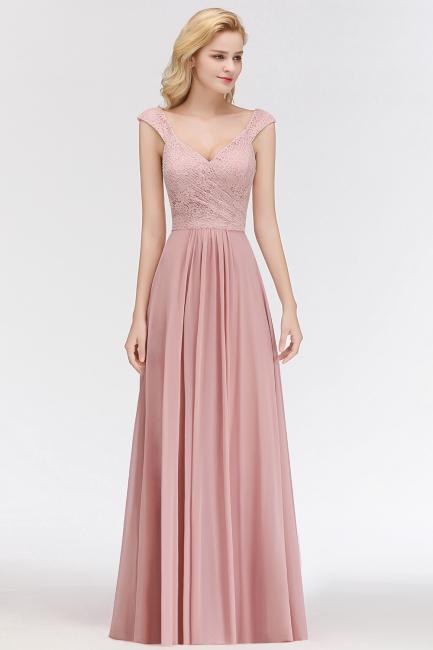 Fashion Brautjungfernkleider Rosa Spitze Chiffon Lang Altrosa Kleider Brautjungfer
