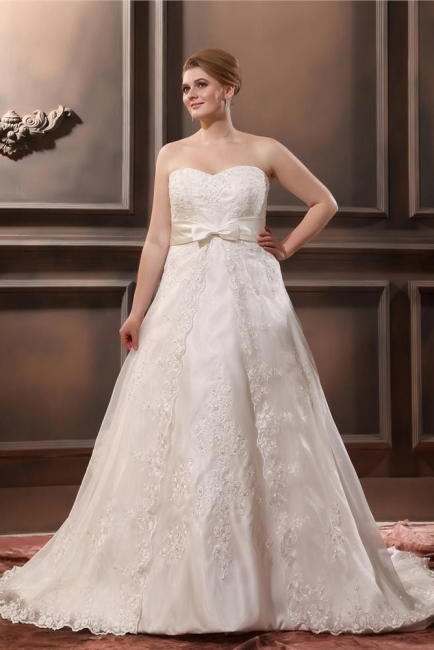 Ivory Wedding Dresses Plus Size Lace With Train Wedding Gowns Plus Size Cheap
