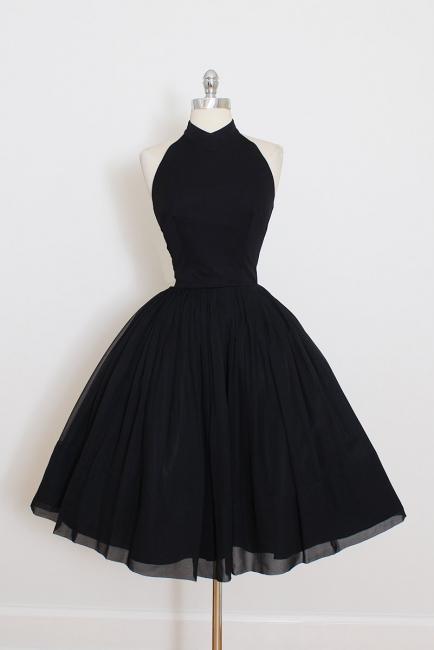 Black Cocktail Dresses Short Halter Chiffon Mini Prom Dresses Party Dresses