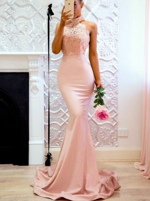 Rosa Abendkleider Lang Günstig Mit Spitze Meerjungfrau Abendmoden Abiballkleider