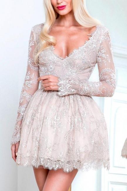 Elegant cocktail dresses short with sleeves v neck prom dresses cheap online