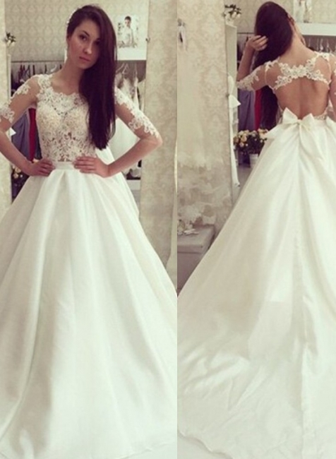 White wedding dresses with sleeves lace a line wedding dresses bridal gowns cheap