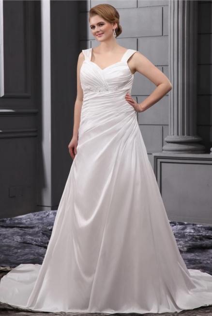 White Wedding Dresses Plus Size Straps A Line Taffeta Plus Size Wedding Gowns Cheap