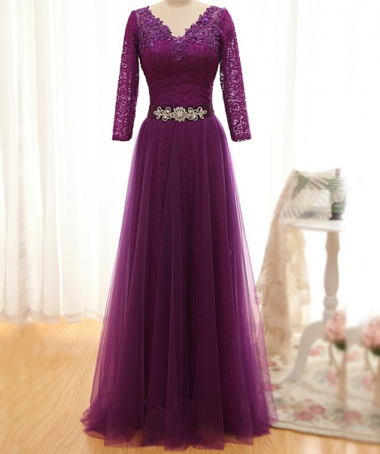 Fashion purple evening dresses with lace sleeves sheath dresses evening wear online