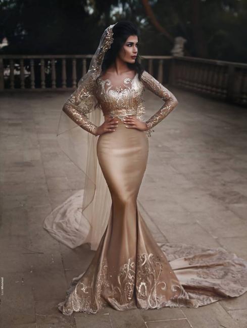 Neue Goldene Abendkleider Mit Spitze Lange Ärmel Abiballkleider Abendmoden Online