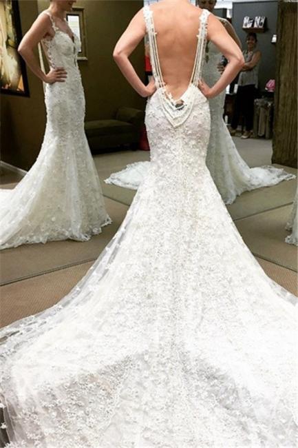 Schöne Weiß Brautkleider Spitze Meerjungfrau Rückenfrei Brautmoden Hochzeitskleider