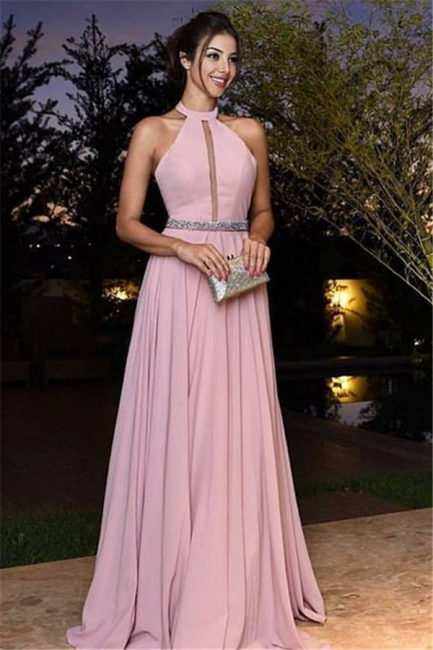 Cheap Evening Dresses Long Pink Halter A Line Chiffon Prom Dresses Online