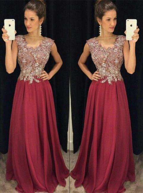 Wein Rot Lange Abendkleider Mit Spitze Satin Bodenlang Abendmoden Abschlussballkleider