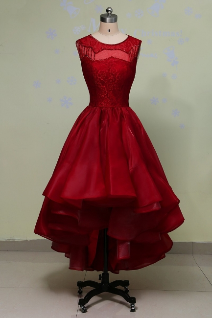 Red Lace Prom Dresses Long Short A Line Evening Wear Prom Dresses