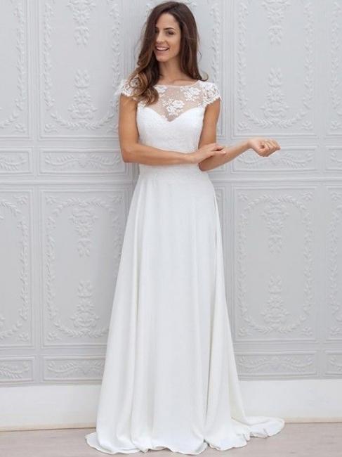 Modern Hochzeitskleider Weiß Spitze Chiffon Etuikleider Brautkleider Günstig