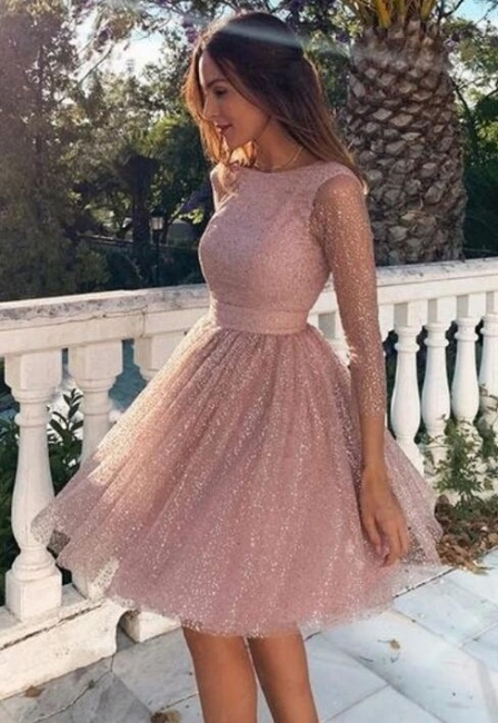 Designer cocktail dresses short pink | Ball gowns glitter with sleeves