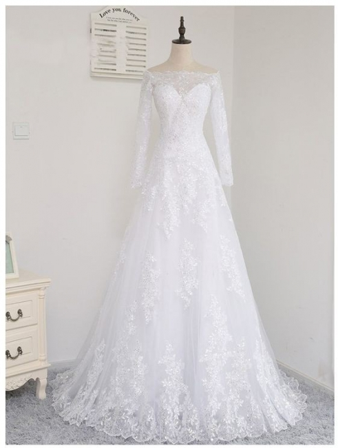 Wedding dresses with sleeves and lace | Wedding dress A line simple
