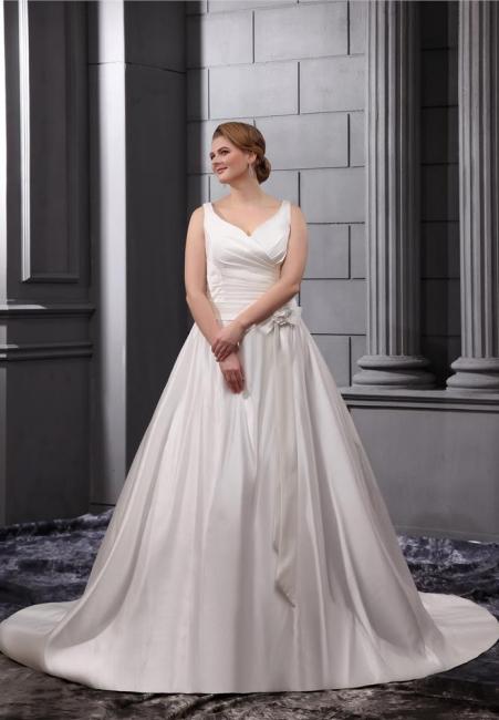 White Wedding Dresses Plus Size Straps A Line Satin Plus Size Wedding Dresses