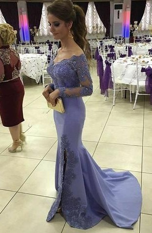 Lavender Evening Dresses Long Sleeves Lace Cut Evening Wear Prom Dresses Cheap