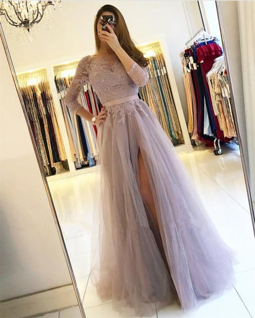 Moderne Abendkleider Lang Günstig Mit Ärmel Spitze Abendmoden Online