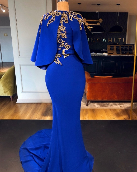 Luxus Abendkleider Königblau | Gold Abiballkleider Lang Günstig