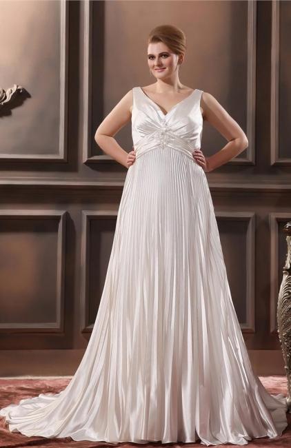 Weiß Brautkleider Große Größe Träger Etuikleider Übergröße Hochzeitskleider