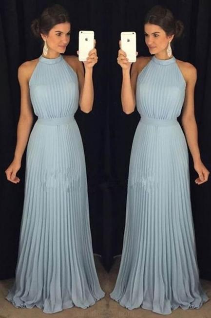 Sky Blue Long Chiffon Evening Dresses Sheath Dress Floor Length Evening Wear Online