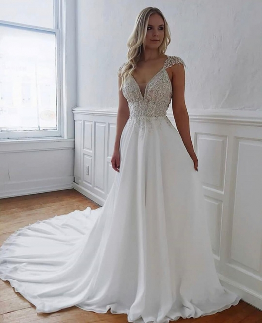 Fashion Wedding Dresses Long Chiffon | Wedding dresses with lace