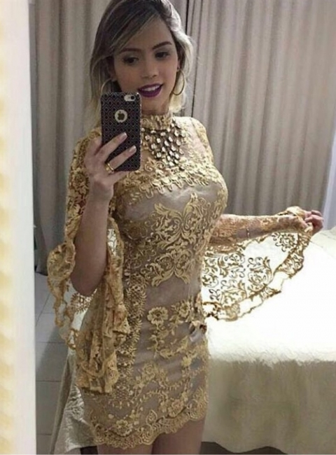 Fashion Short Cocktail Dresses Gold Lace Mini Evening Dresses With Sleeves