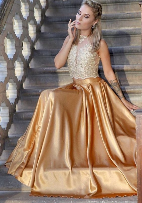 Fashion Evening Dresses Golden Lace Floor Length Evening Wear Prom Dresses