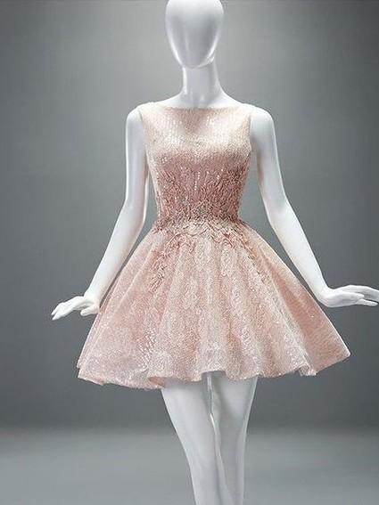 Elegant Cocktail Dresses Short Lace A Line Mini Evening Dresses Prom Dresses