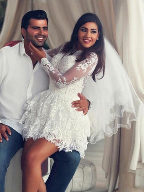 Cheap Wedding Dresses Short Princess Mini Wedding Gowns Lace Sleeves