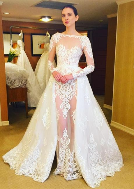 Wedding Dresses Long Sleeves Lace Sheath Dresses White Wedding Dresses Bridal