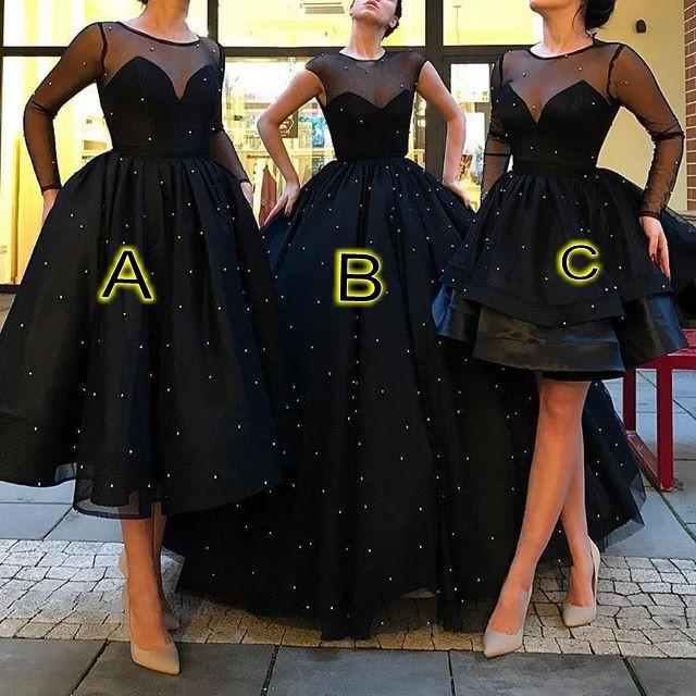 Black Long Evening Dresses Short A Line Evening Wear Prom Dresses Online
