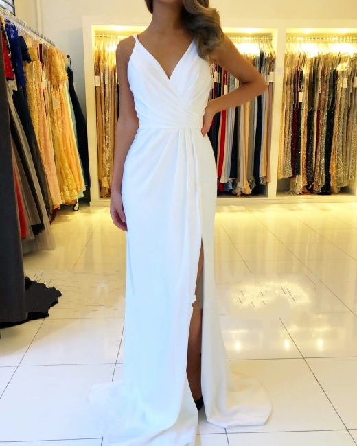 Beautiful White Evening Dresses Long | Chiffon dresses Simple evening dress