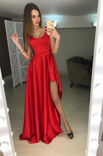 Rote Abendkleider Lang Günstig Träger Abiballkleider Online Kaufen