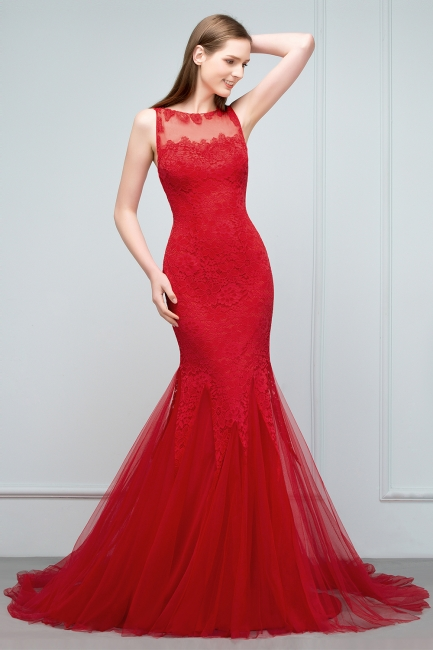 Red Evening Dresses Long Cheap Lace Mermaid Evening Dresses Prom Dresses Online