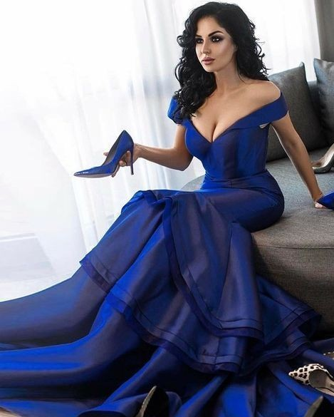 Elegante Abendkleider Günstig Taft Ballkleider Lang Dunkelblau
