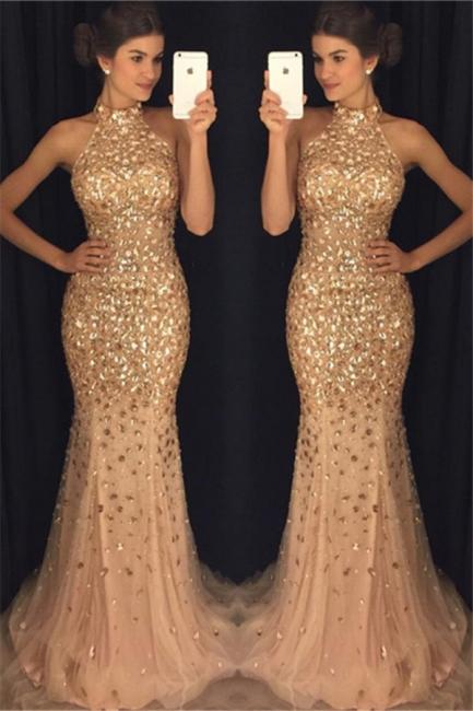 Luxurious Golder Abendkleider Lang Meerjungfrau Perlen Abschlussballkleider Abendmoden